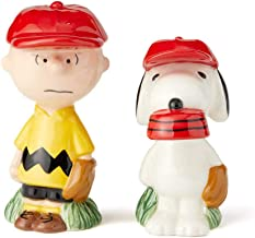 Enesco 6002277 Peanuts Ceramics Charlie Brown and Snoopy Baseball Salt and Pepper Shakers, 3.425 Inch, Multicolor