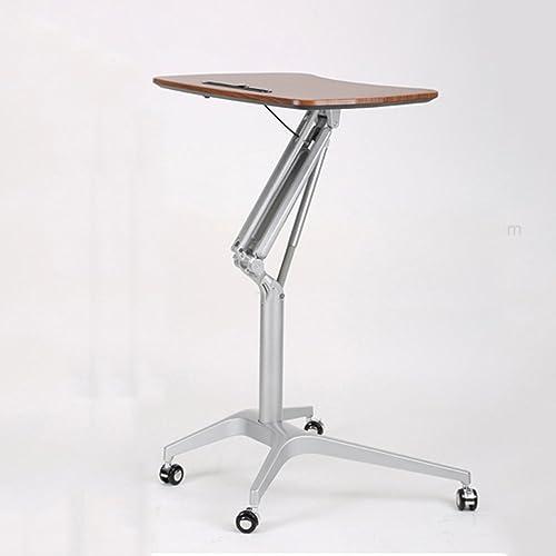 Table pliante réglable Stand-up Mobile Bureau Bureau de Levage de Roue Bureau Simple Table d'appoint 3 Couleur en Option 58.5  71cm Peut être tourné (Couleur   Noyer)