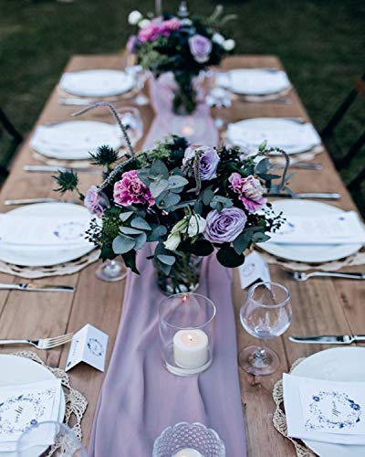 2 Pieces 10Ft Light Purple Chiffon Table Runner Sheer Fabric Runners Romantic Table Covrs Decorations for Wedding Birthday Ceremony Bridal Party