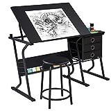 Topeakmart Height Adjustable Drafting Table Art Craft Desk Work Station Hobby Design Studio Tiltable Tabletop Drawing Desk with Stool & Storage Drawers