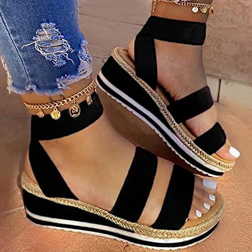 Btytu Zapatos De Tacón Plataforma Mujer Sandalias con Cuña Moda Punta Abierta Wedge High Heels Sandalias De Cordones Elásticos,Negro,38