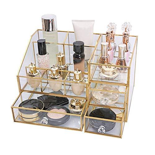 Equipo para el hogar Caja de almacenamiento de cosméticos Estante para lápiz labial de escritorio para mujer Vidrio transparente Hogar Tocador grande Vitrinas de maquillaje cosmético (Color: Multic