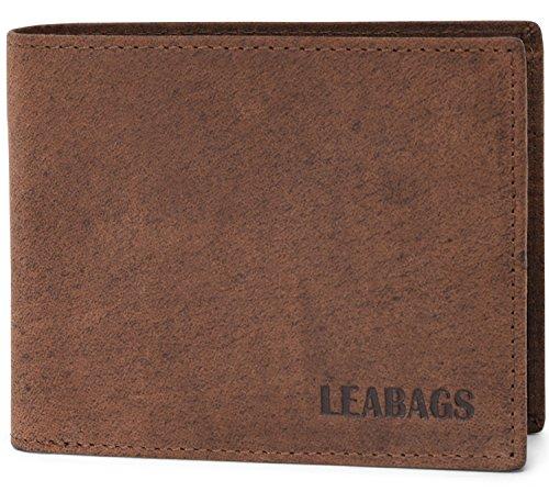LEABAGS, Austin, portafoglio vintage, in vera pelle di bufalo, noce moscata (Marrone) - 4250918904198