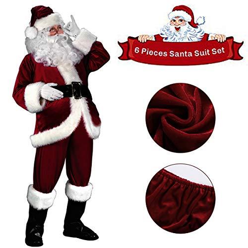 C-Oral Weihnachtsmann Nikolauskostüm Kostüm für Herren, 6 teilliges Weihnachten Santa Claus Kostüm