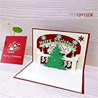 3Dクリスマスカード面白いユニークな3Dホリデーポストカード–クリスマスギフトボックス入りメリークリスマスサンキューカード(3pcs)10 * 15cm