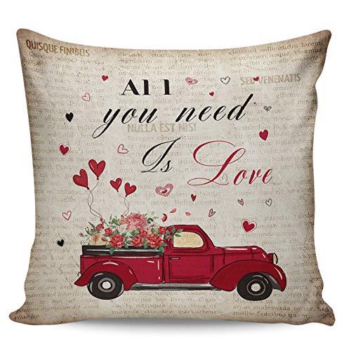 Scrummy Fundas de almohada de 66 x 66 cm, diseño de rosas románticas para el día de San Valentín, para el periódico antiguo, funda de cojín cuadrada para decoración del hogar