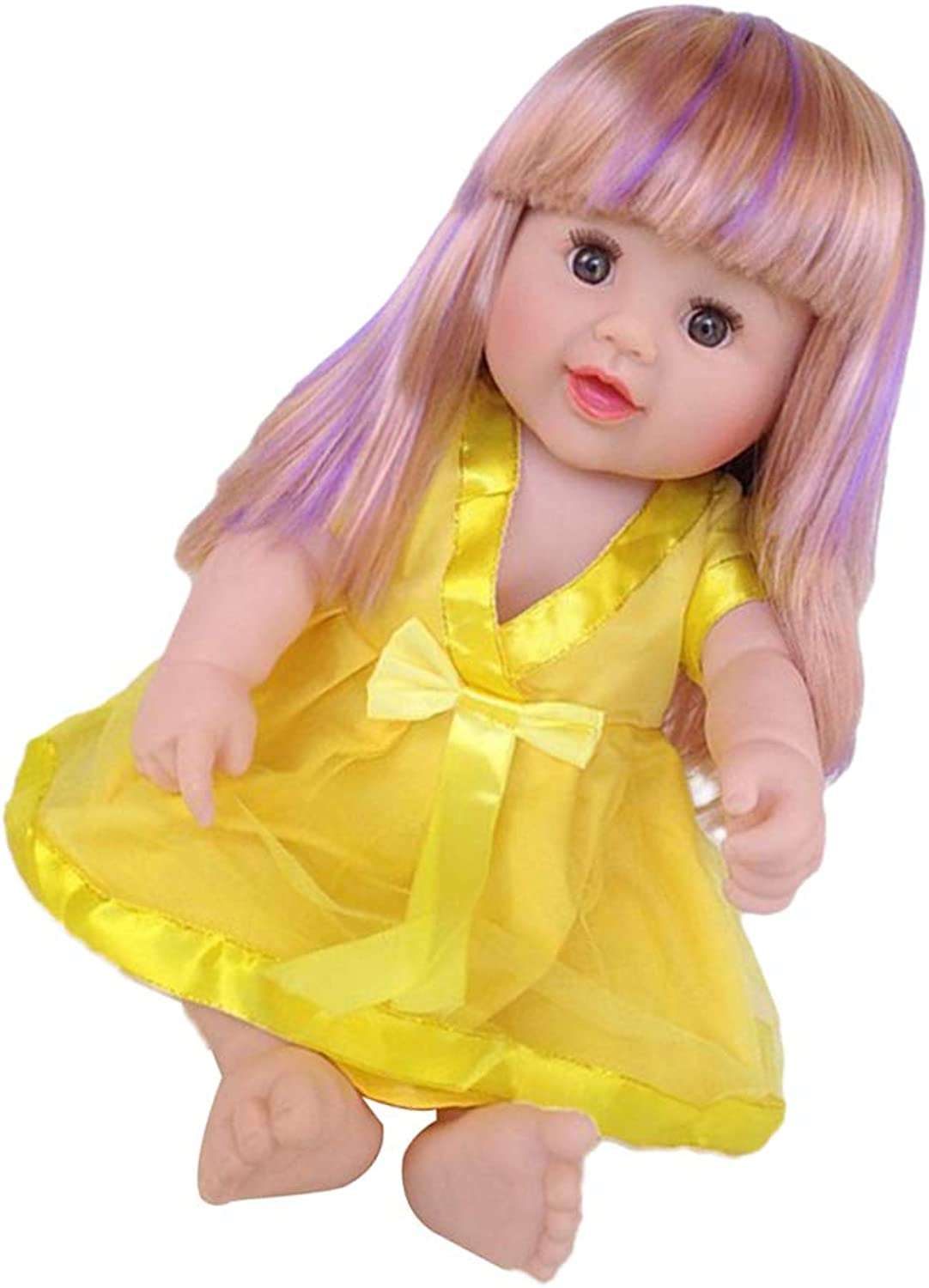 DYNWAVE 50cm Real Looking Reborn Girl Doll with Mixed color Hair, Yellow Dress Vinyl Accessories Best Gift