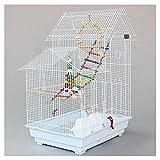 jaula Doble techo loro jaula cría jaula pájaro loro pájaro jaula grande, con alimentador juguetes para mascotas, adecuado para pinzones y palomas Pequeño loro aviario jaula para ( Color : White )