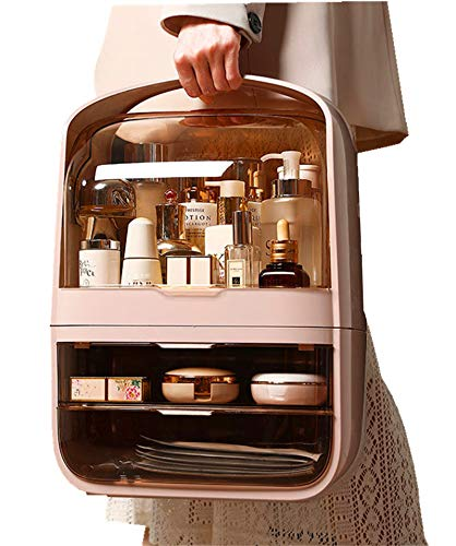 Makeup Organizer Cosmetic Storage - Easily Organize Your Cosmetics, Jewelry and Hair Accessories. Looks Elegant Sitting on Your Vanity, Bathroom Counter or Dresser. Clear Design for Easy Easy to carry