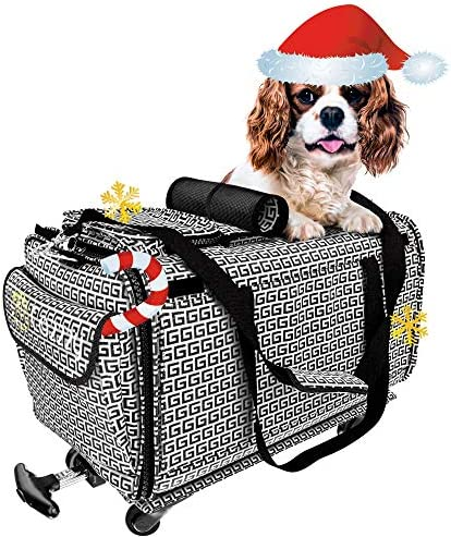 Pet Carrier with Wheels Soft Sided Portable Bag Handle Breathable Rolling Pet Carrier Removable product image