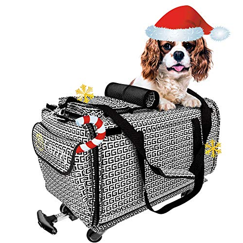Pet Carrier with Wheels Soft Sided Portable Bag, Handle, Breathable Rolling Pet Carrier, Removable Wheels Pet Travel Carrier for Dogs, Cats up to 22 lbs (18 in 11 in 11 in, Wheels attached14 in)