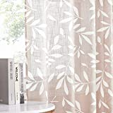NICETOWN White Leaf Pattern Semi Sheer Curtains for Bedroom Window 54' Length, Grommet Linen Blend Texture Privacy Curtain Drapes for Flat/Apartment, 100' Width Total 2 Pieces, Taupe