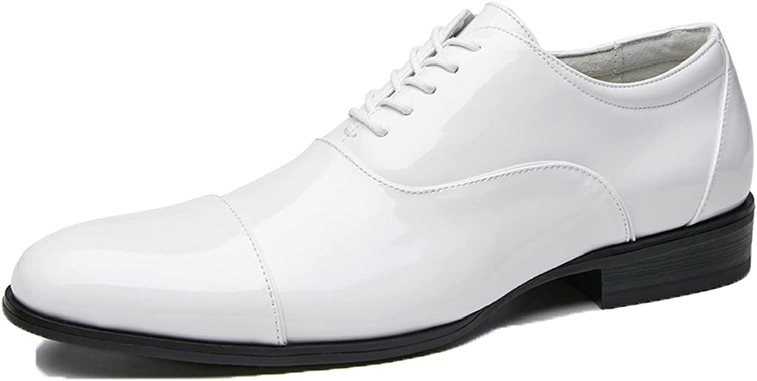 Mens Formal Business Shoes Urban Casual Patent Leather Dress Shoes Gentleman Banquet Oxford Shoes Round Toe Lace-Up Work Footwear