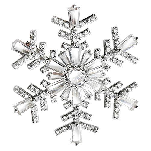 KristLand - Damen Elegantes Weißes Gold Überzogene Schneeflocken Brosche Anhänger Funkeln Zirkonia Double-wear Weihnachten Hochzeiten Schneeflocke