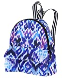 18 Inch Doll Backpack | Doll Sized Blue and Purple Print Nylon, Zipper Opening School Bag | Ikat Print Backpack