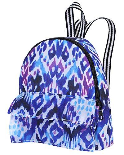 18 Inch Doll Backpack   Doll Sized Blue and Purple Print Nylon, Zipper Opening School Bag   Ikat Print Backpack