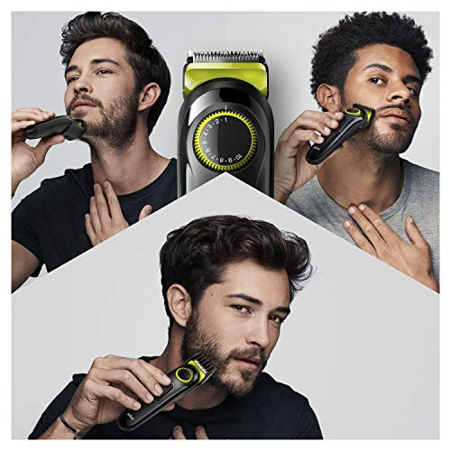 Braun Beard Trimmer BT3221 and Hair Clipper for Men, Lifetime Sharp Blades, 20 Length Settings, 50mins cordless trimming, Black/Volt Green