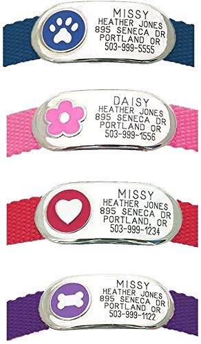 LuckyPet Jewelry Collar Tag for Dogs and Cats, Custom Engraved, Durable, Quiet and Chew Proof, Attaches Flat to Any Collar, Large-Purple-Bone