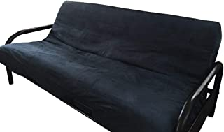 OctoRose Full Size Navy Blue 3 Side Zipper Bonded Classic Soft Micro Suede Futon Cover/Protector (Cover Only, Mattress and Frame NOT Included) (Navy Blue)