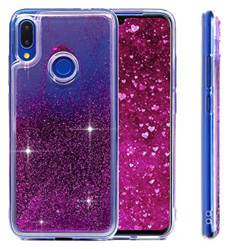 MUSESHOP Funda Xiaomi Redmi Note 7/Note 7 Pro, Purpurina Líquida Que Fluye Cubierta Brillante Carcasa Liquida Cristal TPU Gel Fina Arenas Movedizas - Morado