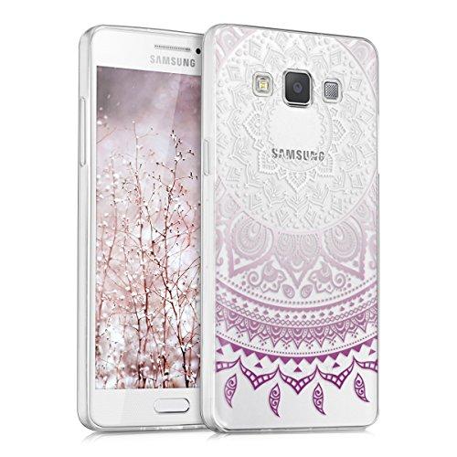 kwmobile Funda para Samsung Galaxy A5 (2015) - Carcasa de TPU para móvil y diseño de Sol hindú en Violeta/Blanco/Transparente
