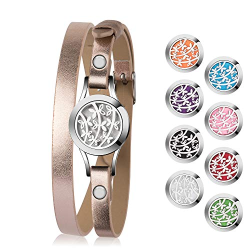 Di Maggio Essential Oil Diffuser Bracelet, Stainless Steel Aromatherapy Locket Bracelets Leather Band with 8 Pads, Girls Girlfriend Women Mother Jewelry Gift Set