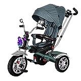 Bicicleta infantil Triciclo de música para bebé, de 1 a 3 a 6 años de edad, juguete para bebé, asiento giratorio, color verde