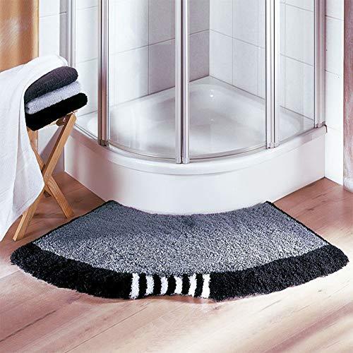 JSIHENA Badematte rutschfeste Badteppiche Halbkreisförmig Fächerförmig Fußpolster, Gewölbte Duschmatte für Hotel,Schwarz,143cm*45cm