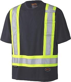 Pioneer Soft Moisture-Wicking Reflective Hi-Vis Safety T-Shirt, Premium Birdseye, Black, M, V1051170-M