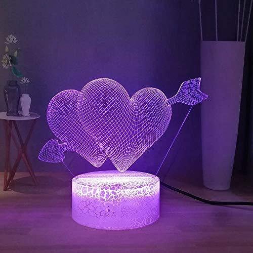 Sanzangtang Led-nachtlampje, 3D-7 kleuren, afstandsbediening, liefde pijl, visuele bureaulamp, anime menselijk hart, pijl, nachtlampje, paar cadeaulampje