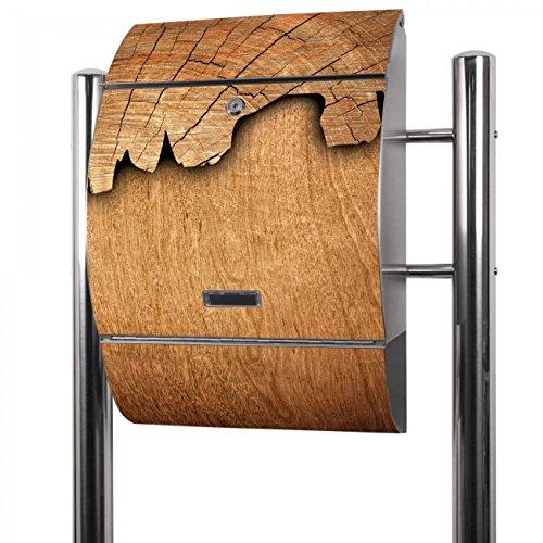 Banjado Briefkasten Edelstahl mit Ständer | Postkasten freistehend 126x53x17cm | Standbriefkasten mit Zeitungsfach und Namensschild Motiv Holz