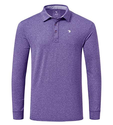 YSENTO Herren-Poloshirt, langärmlig, einfarbig Gr. L, violett