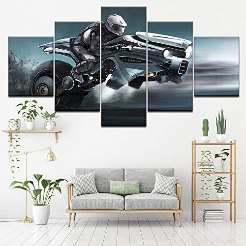 Segeltuch Gemälde Zukunft Cool Motorrad 5 Stücke Wandkunst Gemälde Modular Hintergrundbilder Poster Drucken Zum Wohnzimmer Wohnkultur,A,40×60×2+40×80×2+40×100×1