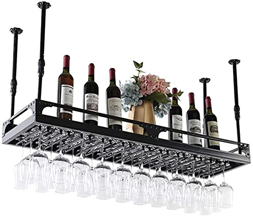 Estante para vinos, Bar, Restaurante, Estante para copas de vino, Techos colgantes para el hogar  Soporte colgante  Porta botellas de vino vintage  RusticWALL Montado Ajustable, 80Cm, 80Cm