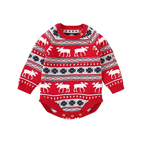 Baby Boy Girl Christmas Knitwear Long Sleeve Rompers Bodysuits Christmas Reindeer Overall Xmas Clothes Baby Gifts 0-18 Months (0-3 Months, Red)