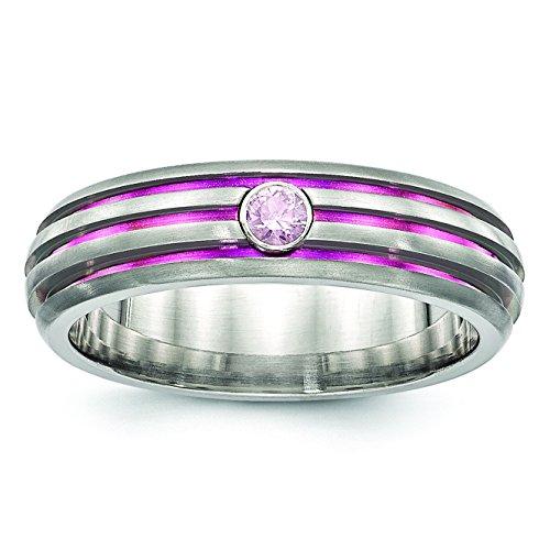 TRPL de titanio Groove Rosa Anodizado y rosa zafiro anillo de compromiso