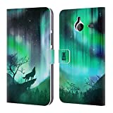 Head Case Designs Green Howling Wolf Northern Lights