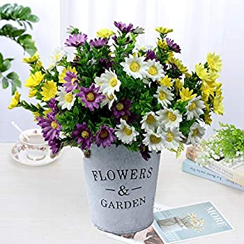 Premium Artificial Flowers 6 Pack Fake Daisies Colorful Plant Bouquet for Home Table Hotel Centerpieces Indoor Outside Garden Décor  White Yellow Purple