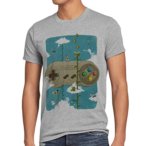 style3 16-Bit Nostalgia T-Shirt da Uomo Snes Mario Super Kart Yoshi, Dimensione:M, Colore:Grigio Melange
