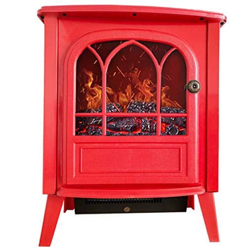 NFJ Elektrokamin Mit Heizung Elektro Kaminofen Regelbarer Thermostat Elektrofeuer Flammeneffekt Heizer Ofen 2000 Watt Zuschaltbare Heizfunktion,Red