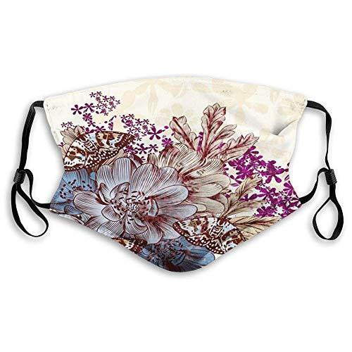 Blumige, handgezeichnete pastellfarbene Blumen mit Schmetterlingen Vintage Detailbild, Blau Lila Weiß Braun Weicher, haltbarer Mundschutz zum Schutz vor Staubrauch,20x15cm