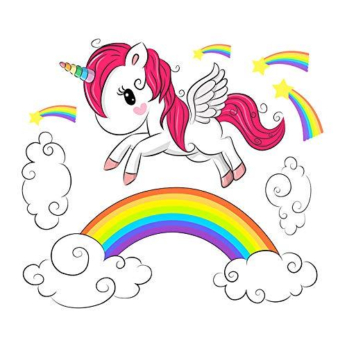 ebay läuft Einhorn Regenbogen Wandaufkleber Cartoon Wanddekoration PVC Kinder Graffiti Aufkleber können entfernt werden