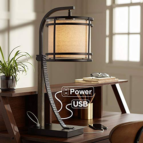 Gentry Rustic Farmhouse Desk Table Lamp with USB and AC Power Outlet in Base Oil Rubbed Bronze Oatmeal Fabric Drum Shade for Living Room Bedroom House Bedside Nightstand Office - Franklin Iron Works