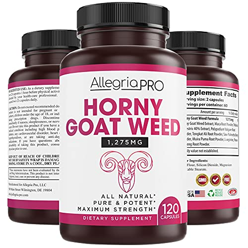 Horny Goat Weed Herbal Complex - Extract for Men and Women - 120 Caps - 1275mg [Extra Strength] Supplement - Maca Root, Saw Palmetto, Ginseng, Tribulus, Tongkat Ali, Muira Puama, L-Arginine - Made USA