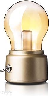 Lámpara de mesa vintage retro USB bombilla LED recargable con interruptor de palanca de metal
