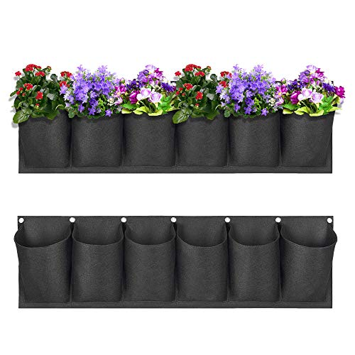 VASZOLA - Juego de 2 bolsas de plantación de pared de jardín, resistente al agua, de fieltro grande, vertical, para colgar en la pared, maceta para decoración de exteriores y el hogar, 6 bolsillos.