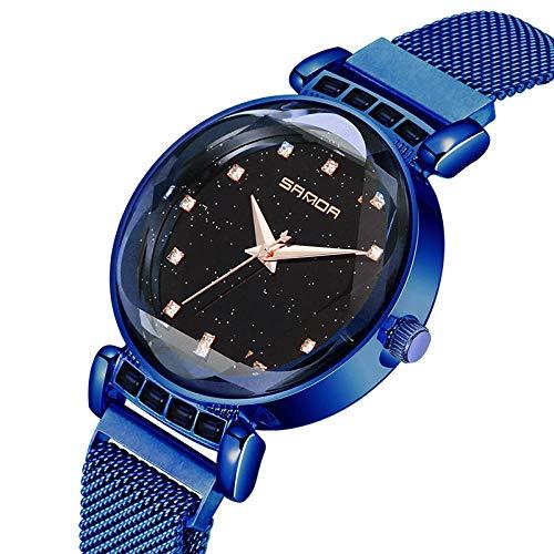 SANDA Relojes De Pulsera,Star Mesh Belt Watch Reloj de Cuarzo Perezoso Retro de Moda de Estudiante Femenina-Azul