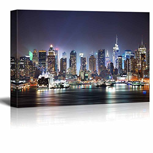 Jersey Night Skyline Cityscape Landscape Wall Art Large Poster Canvas Pictures