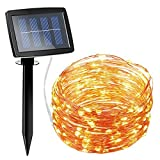 AMIR Solar Powered String Lights 150 LED, 2 Modes Copper Wire Lights, Indoor Outdoor Starry String Lights, Waterproof Solar Decoration Lights for Gardens, Homes, Parties (Warm White)