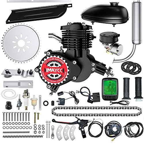 IMAYCC 80cc Bicycle Engine Kit 2-Stroke Motor Bike kit Fit for 26' 28' Bikes 2-Stroke Petrol Gas Bicycle Motor Kit (Black)